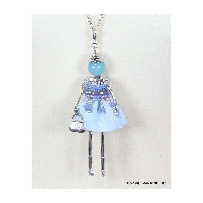 Sautoir poupée tête ronde tissu avec strass, cristal, perles de rocaille et métal