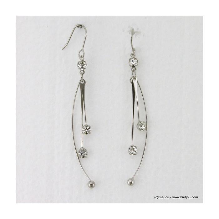 Boucles d'oreille longues 3 branches métal et strass