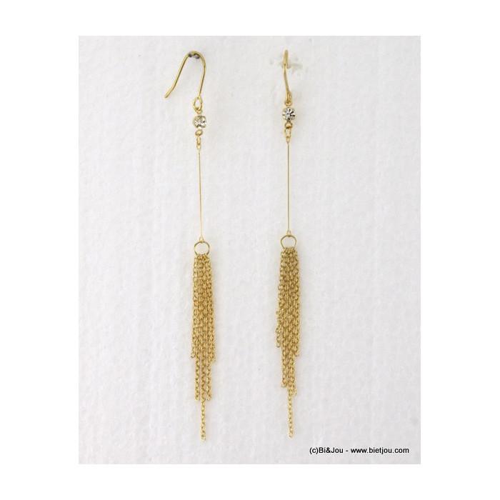 Boucles d'oreille longues tige pompon métal et strass