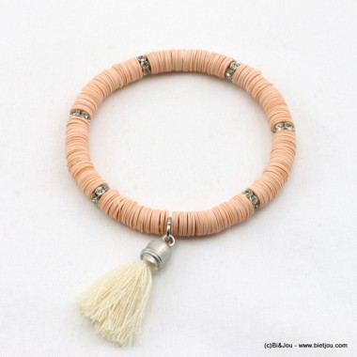 Bracelet élastique séquences acrylique métal, strass et pompon