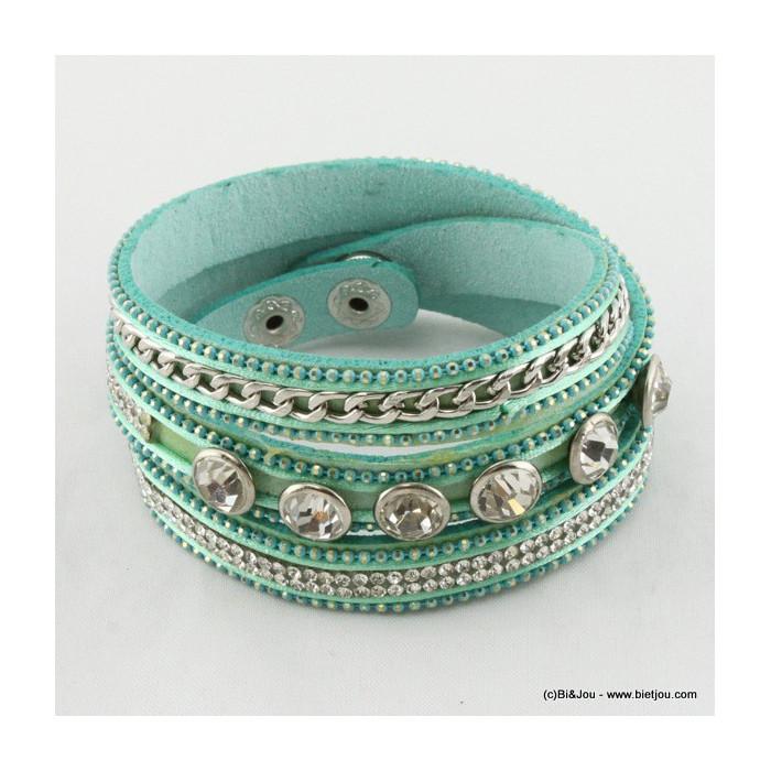 Bracelet multitours cuir synthétique, strass, maille métal et strass en verre