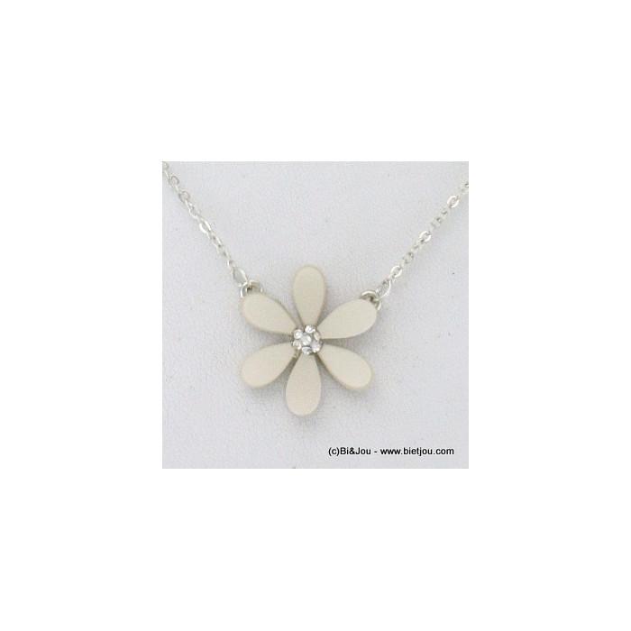 Collier fin pendentif fleur métal, acrylique et strass