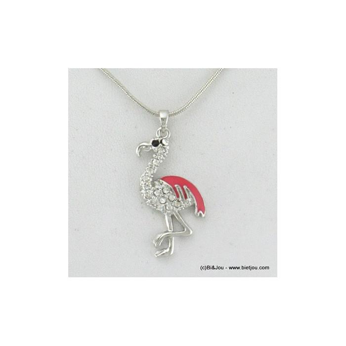 Collier fin pendentif flamant rose métal et strass