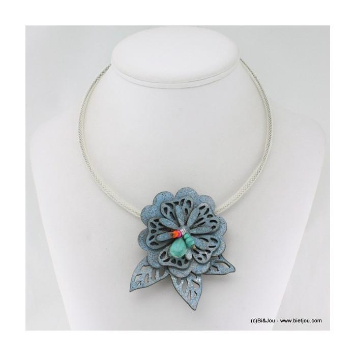 Collier fleurs et feuilles simili cuir avec pierre reconstituée, perles de rocaille et métal