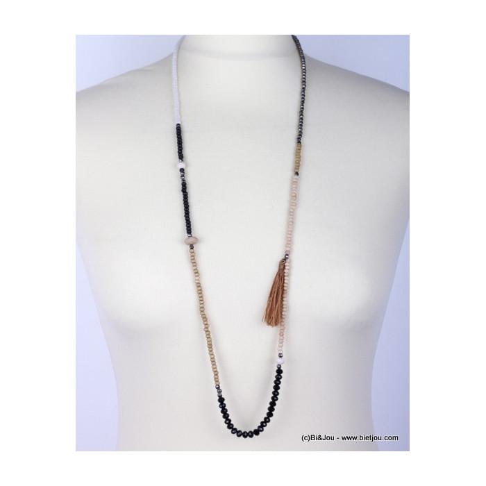 Sautoir perles en bois acrylique cristal et pompon