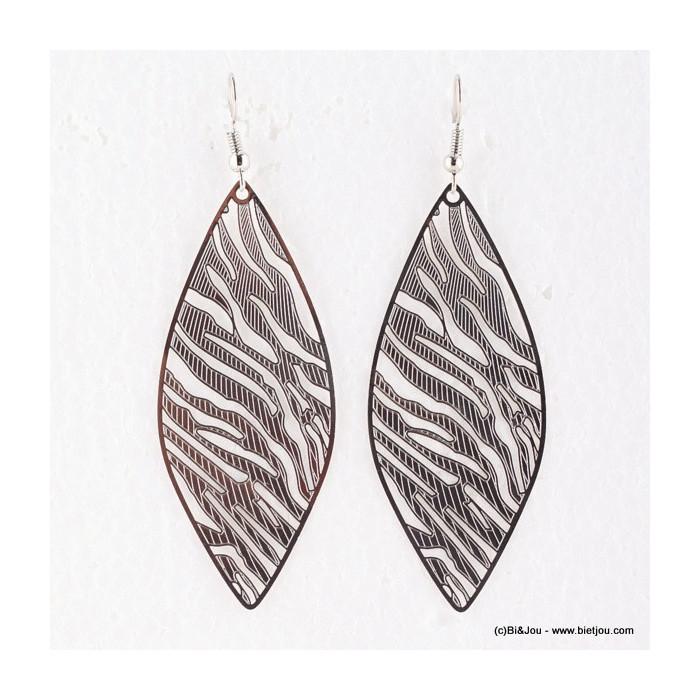 boucles d 39 oreilles ovales filigrane motif z bre parissima. Black Bedroom Furniture Sets. Home Design Ideas