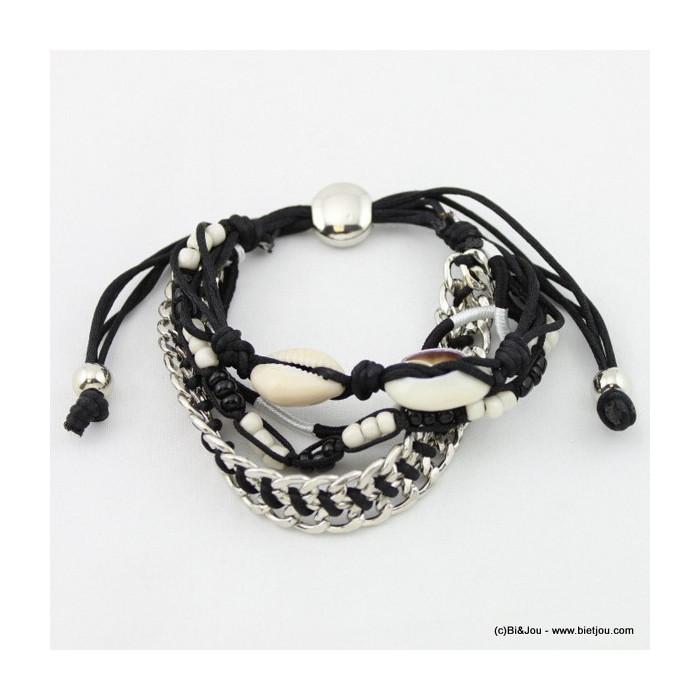 Bracelet perles de rocaille coquillage en nacre et métal