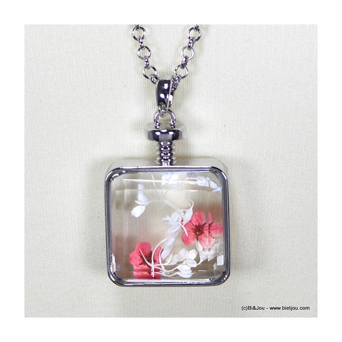 sautoir verre carré fleur 0115513