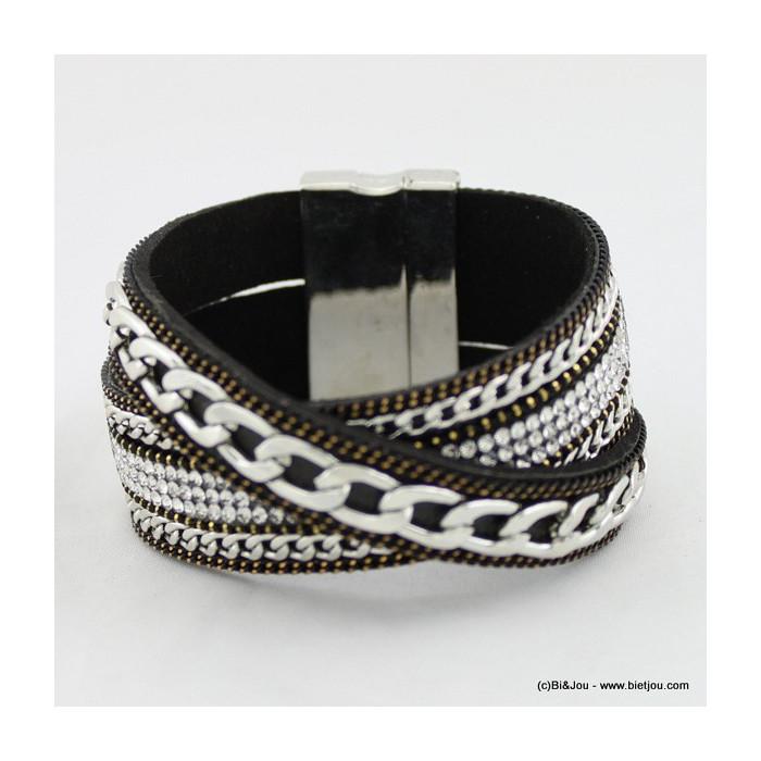 bracelet manchette simili-cuir 0215522