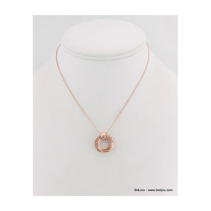 Collier triple anneaux métal et strass