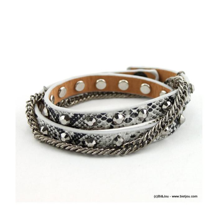 bracelet simili-cuir multi-tours chaine 0215561