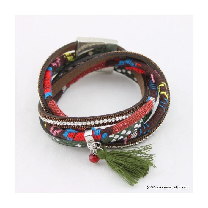 bracelet simili-cuir multi-tours pompon 0215565
