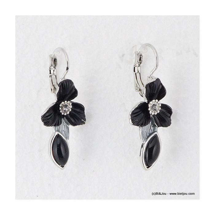 boucles d'oreille émail fleur 0315555