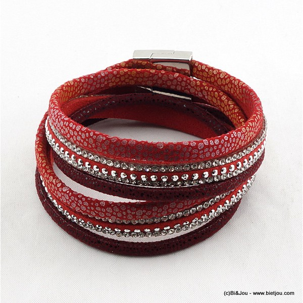 bracelet multi-tours aimanté simili-cuir 0215590