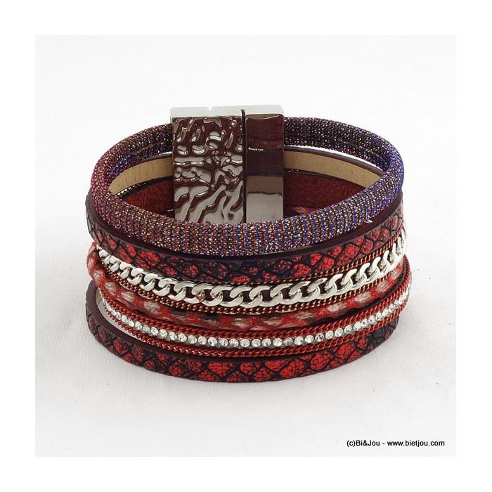bracelet manchette aimanté simili-cuir 0215601