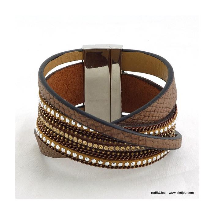 bracelet manchette simili-cuir 0215221