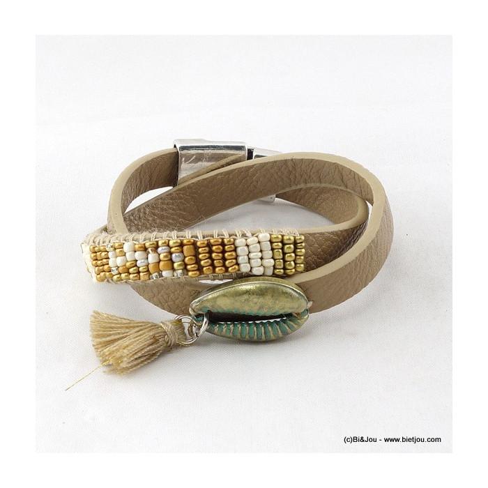 bracelet multi-tours aimanté simili-cuir coquillage pompon 0216009