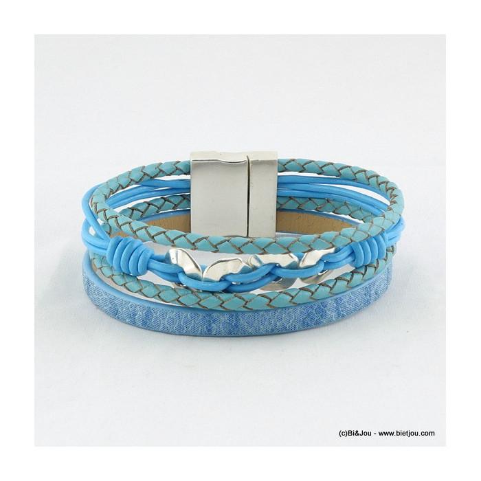 bracelet manchette aimanté simili-cuir 0216012