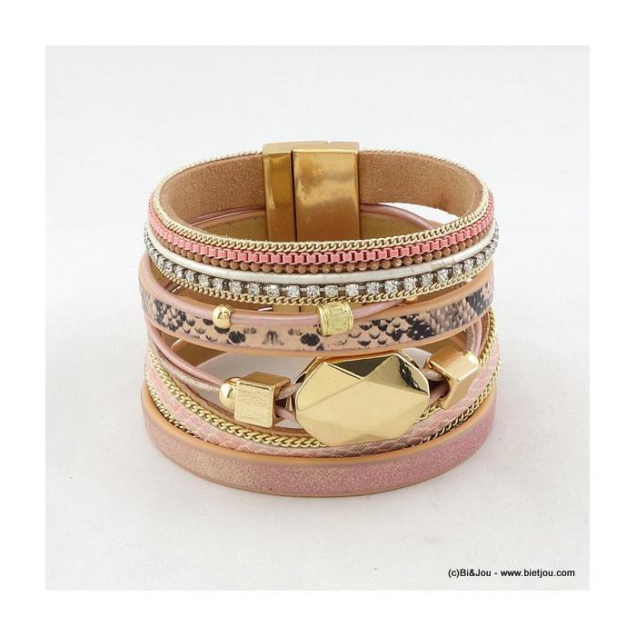 bracelet manchette aimanté simili-cuir 0216014