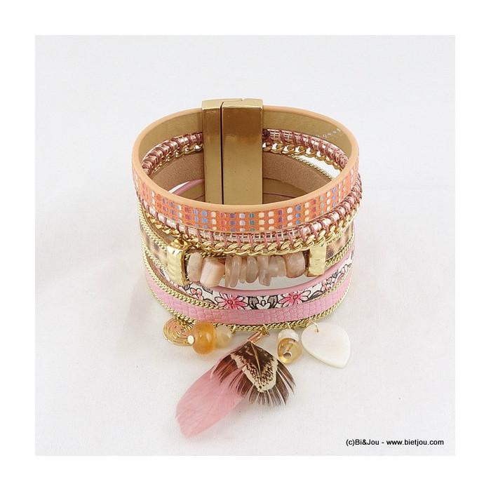 bracelet manchette aimanté simili-cuir plume 0216016
