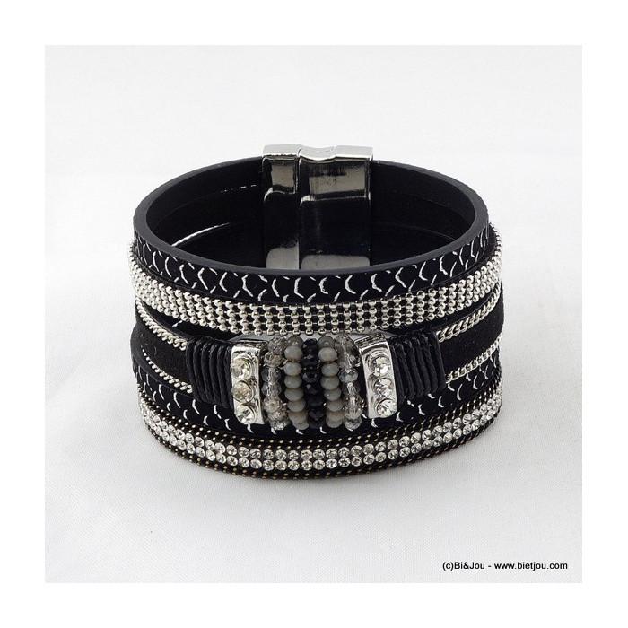 bracelet manchette aimanté simili-cuir 0216020