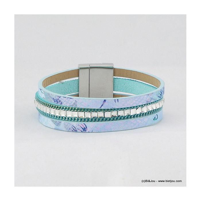 bracelet manchette aimanté simili-cuir 0216022