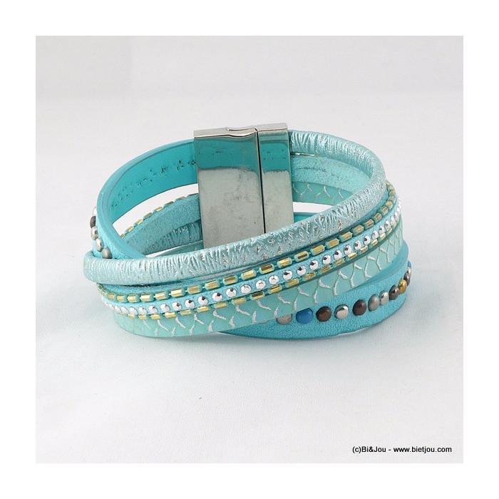 bracelet manchette aimanté simili-cuir entrelacé 0216023