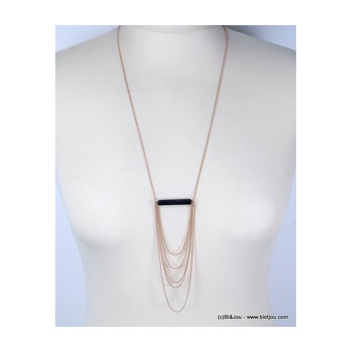 Sautoir décoré d'une perle effet marbre et de chaînes pendantes