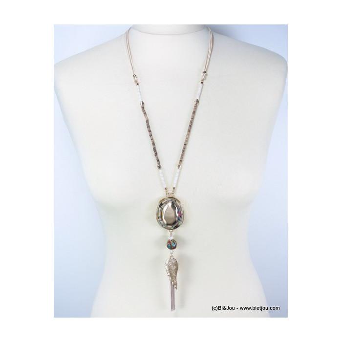 Sautoir gypset liens en coton ciré, perles de bois et pendentif métal