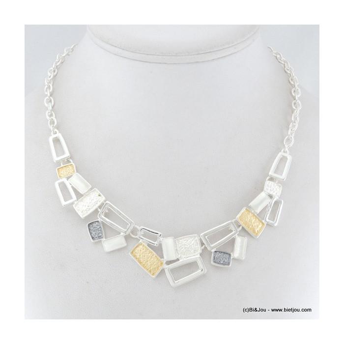 Collier multi-rectangles, émail et métal