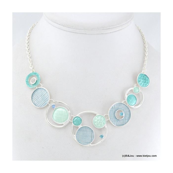 Collier plastron multi-cercles, émail et métal +BO OFFERTES