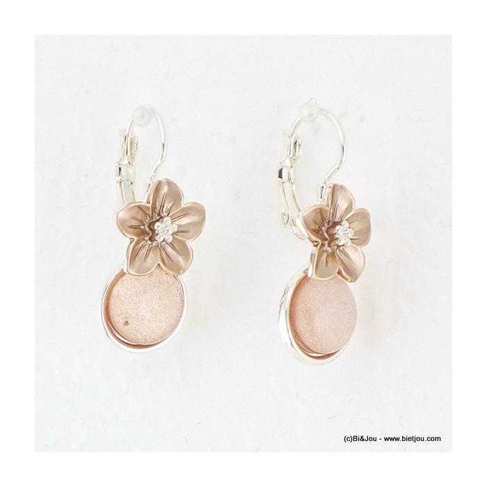 Boucles d'oreilles fleur en émail et perle de verre