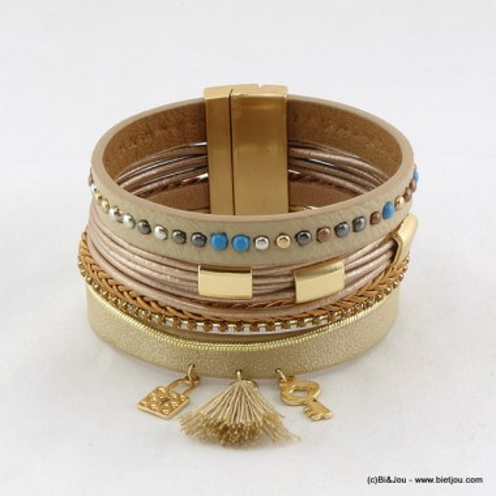 bracelet manchette aimanté simili-cuir pompon 0216013