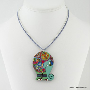 Collier éléphant multicolore