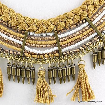 plastron ethnique pompon 0116107 doré