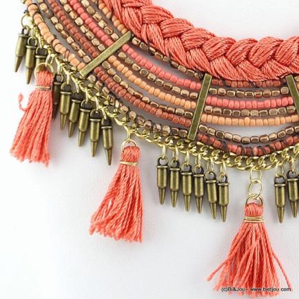 plastron ethnique pompon 0116107 rouge corail