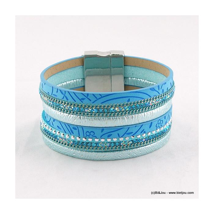 bracelet manchette aimanté simili-cuir 0216031