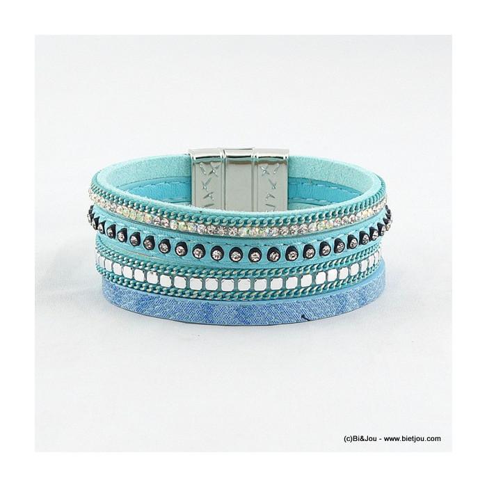 bracelet manchette aimanté simili-cuir 0216033