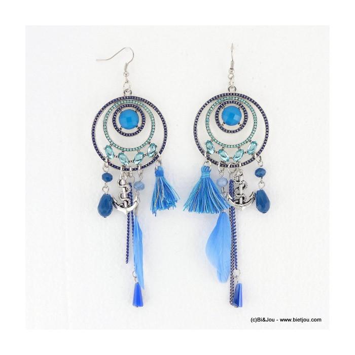 boucles d'oreille Gypset Hippie Chic Boho pompon 0316034
