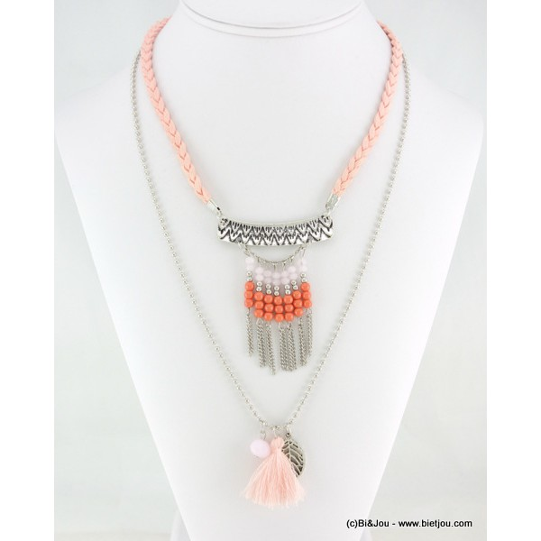 collier Gypset Hippie Chic Boho pompon 0116144