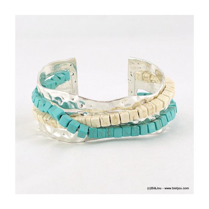 bracelet jonc ouvert turquoise 0216058