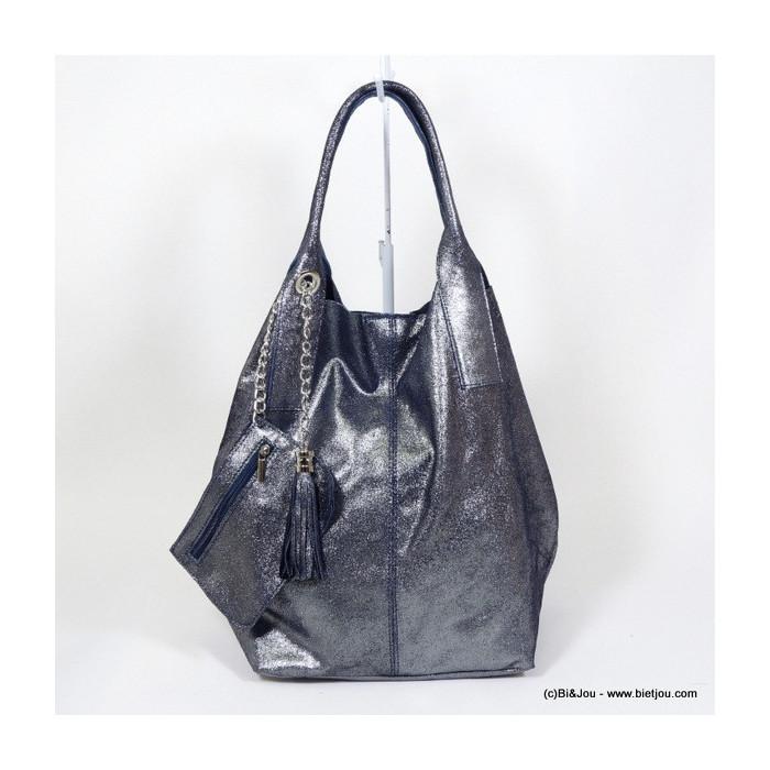 sac à main femme CUIR VERITABLE VELOURS effet métallisé 0916056