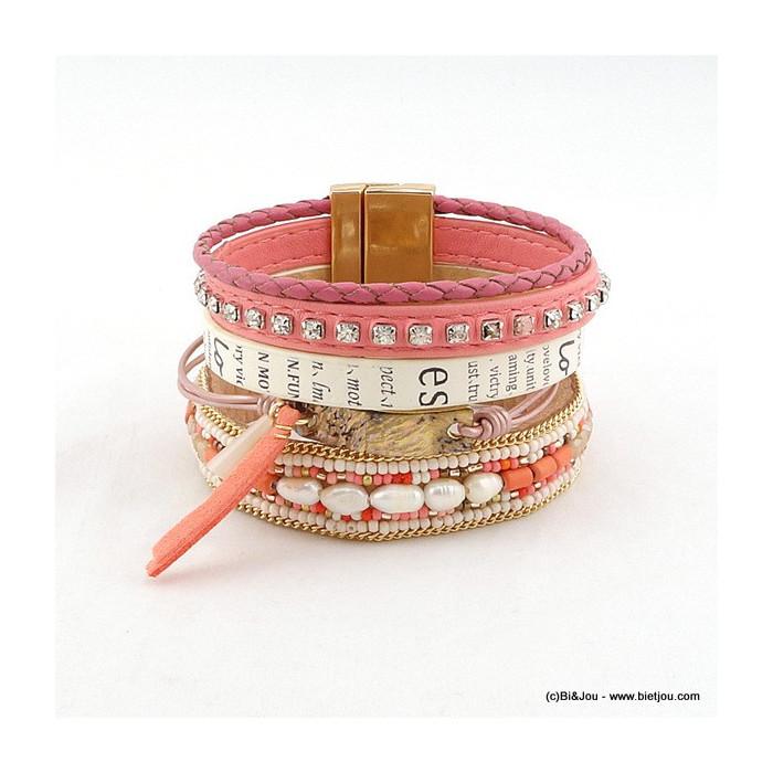 bracelet manchette femme aimanté simili-cuir 0216078