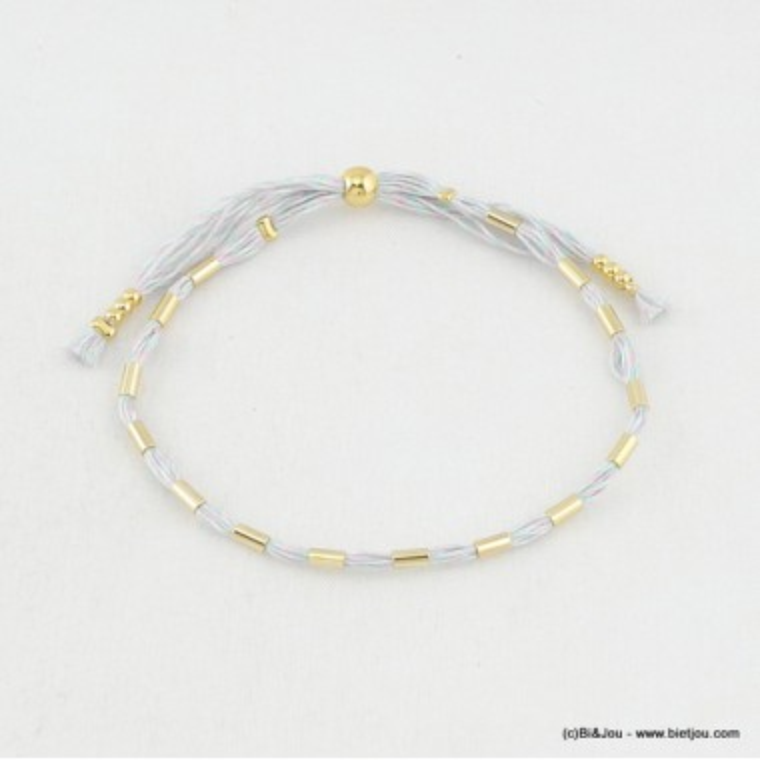 Bracelet en tissu et perles allongées