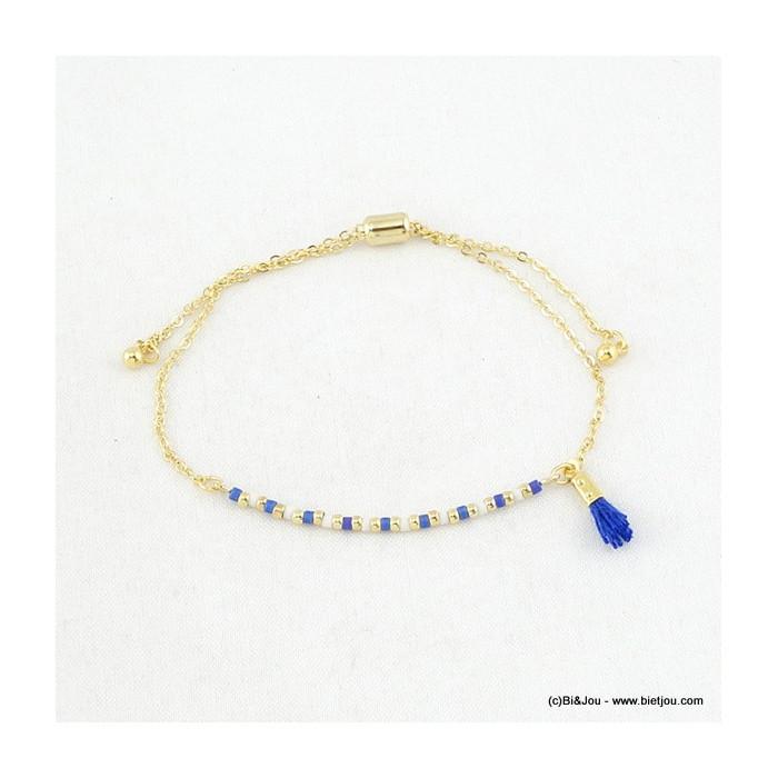 Bracelet perles colorées et mini pompon