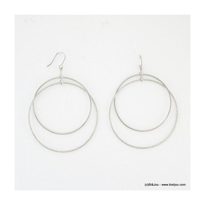 boucles d'oreille double anneaux hameçon 0316082