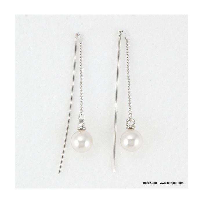 boucles d'oreille passe-fil imit.perle 0316097