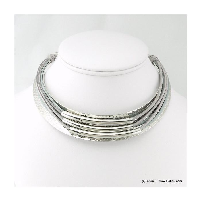 Collier torque en métal et liens imitation cuir