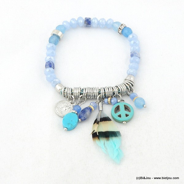 bracelet plume peace-and-love 0216110