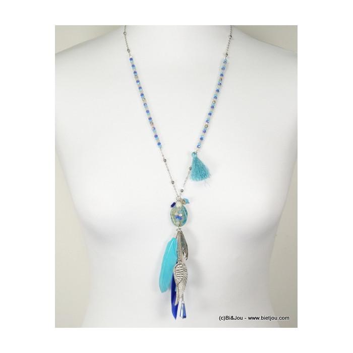 Sautoir boho chic pompon, pendentif en plumes et pierre naturelle